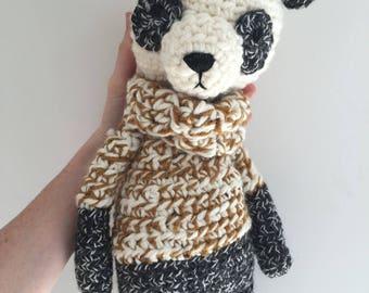 SALE plush panda doll animal panda, ready to ship, acrylic yarn