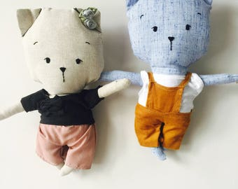 SALE doll plush cat toy Kitty made of linen fabric