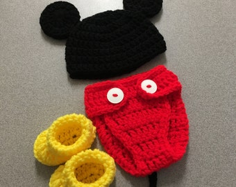 Crochet Mickey mouse newborn photoshoot prop outfit