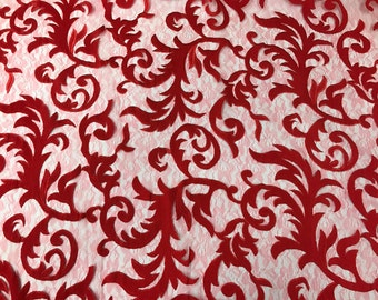Red Embroidered Mesh Fabric By The Yard