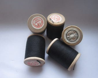 Set of 5 not used thread,Soviet thread with Wooden Spools,Black cotton crochet Yarn,Retro Crochet material,Soviet Thread,soviet Wooden Spool