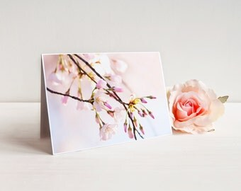 "Cherry Blossoms Greeting Card (with envelope), Notecard, A7 5x7"", White and Pink Flowers 
