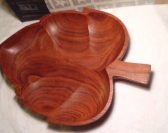 Vintage autumn leaf wooden bowl