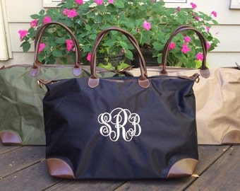 Monogrammed Nylon Weekender/Overnight Tote Bag -- Perfect For Weekends, Gym, Sports, Or Outings!