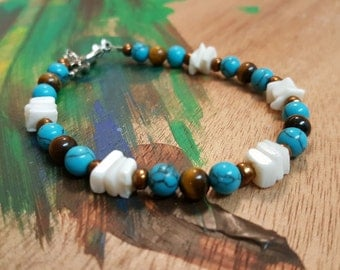 Turquoise, Tiger's Eye, and Shell Bracelet