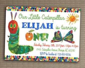Very Hungry Caterpillar Invitation, You Print Invitation, Very Hungry Caterpillar Birthday, Very Hungry Caterpillar Themed Invitation