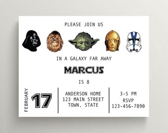 "Star Wars Birthday Invitation, Yoda, C-3PO, Chewbacca, Darth Vader Birthday Party Invite, Storm Trooper Party, Digital File, 7x5"", PRINTABLE"