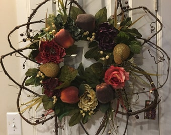 Grapevine wreath original design with flowers and fruit