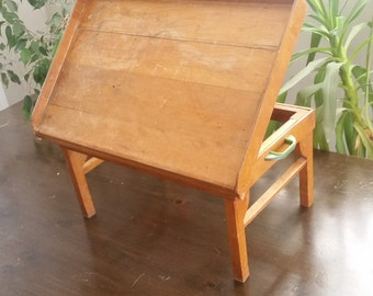 50's Vintage Bed Serving Tray - Service Table Wood Furniture Adjustable Tilting Top Shabby chic Cottage Chic