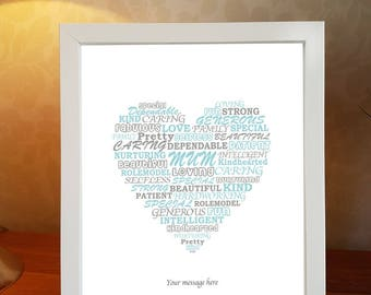 Mum christmas gift, heart, personalised word art, mother, framed word art, personalised print, family print, christmas present