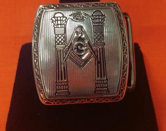 Vintage Sterling Silver Masonic Belt Buckle