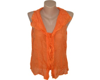 Vintage Caractere orange women vest blouse top cotton and silk USA12