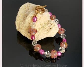 Pink Jewelry, Lampwork Jewelry, Beaded Jewelry, Pink Bracelet, Handmade Jewelry, Mothers Day Gift, Womens Jewelry, Graduation Gift