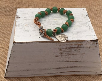 Single Wrap Round Leather Knotted Bracelet with 8mm Green Aventurine beads and Buddha medallion.
