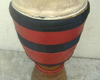 Professional Djembe with red and black wrap