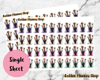 Make Up Brushes Stickers, Planner Stickers, EC, Happy Planner, Recollections