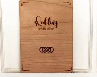 Bespoke wedding invitation engraved on Cherry veneer - double infinity