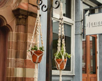 Plant Hanger: Cotton Plant Hanger with Hand Stained Wood Beads (Indoor/Outdoor)