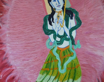White Umbrella female protective buddha  an original fine art painting oil on stretched gesso prepared canvas