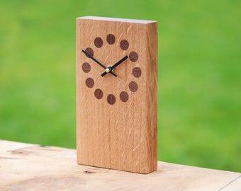 Wooden Clock 'Dotty' - Oak & Black Walnut