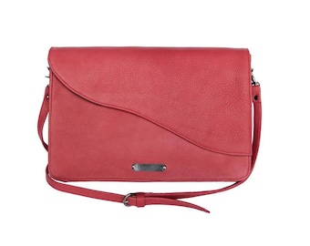 "Woman's dark red crossbody purse bag medium size ""Chic Red"" with adjustable strap"