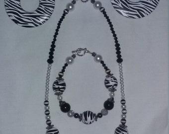 4 Piece Zebra Print jewelry set
