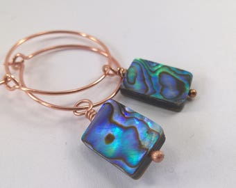 Abalone Shell earrings, Rose Gold plated earrings, Rose gold and Abalone earrings, Abalone Shell, Abalone Hoop earrings,