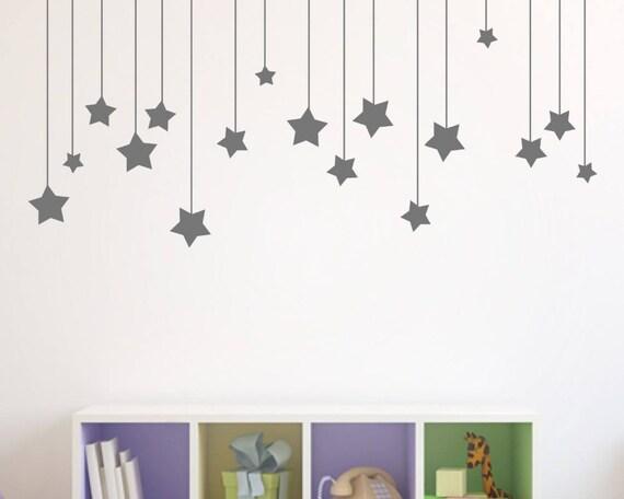 Hanging Stars Wall Decal Set - Nursery Room Decor - Moon Wall sticker - Nursery Wall Decal Set - Peel and stick Wall Decal