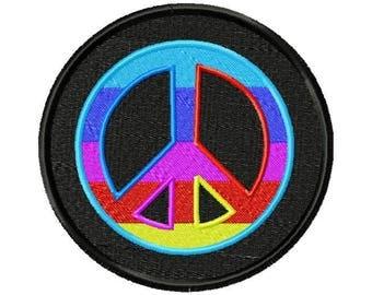 Rainbow Peace Sign Embroidery Design, Machine Embroidery, Peace Sign, Embroidery Design, Peace Embroidery, Embroidery, Peace