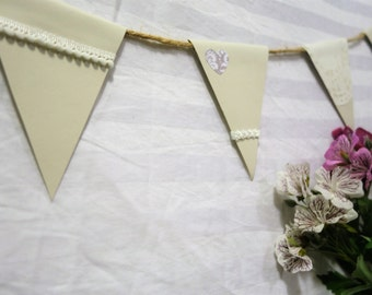 wedding bunting, wedding garland, shabby chic bunting, twine bunting, paper bunting, love heart bunting, lace bunting, ready to ship, white