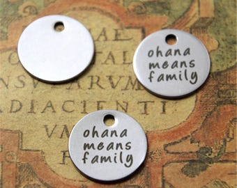 10pcs ohana means family charm silver tone lilo and stitch message charm pendant 20mm ASD2156