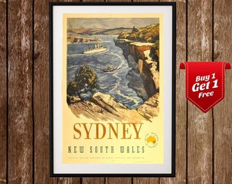 Sydney Vintage Travel Poster, New South Wales , Australia Travel , Travel Print, Australia Tourism, Old Ad, Sydney Visiting