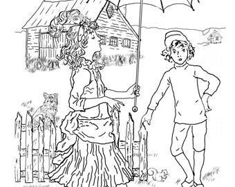 Girl With Umbrella-A Hand Drawn Vintage Coloring Page