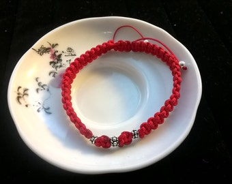 Three Wishes Lucky Chinese Red String Bracelet with 925S Silver Beads