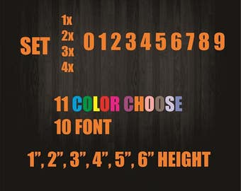 Custom Number Decals (white or choose color with message)