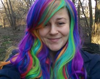 Rainbow Wig, multicolor Wig, Long wig, flowing, curly, bright, neon, Curls, flowy, wavy, multi color