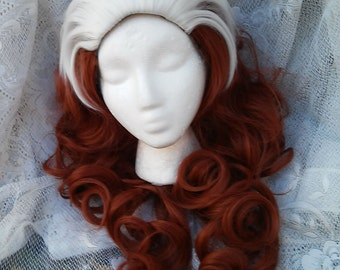 Cosplay Wig, Rogue wig, Brown and White Wig, Curly Dress Up Costume Burgundy and White wig Long