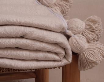 throw blanket moroccan pom pom blankets,bed spread, natural cotton bedding,berber blankets,bohemian blanket beige blanket