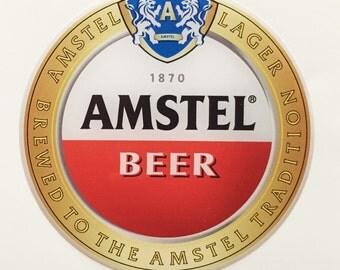 Amstel Beer Domed Sticker/label. Round. 3D. Diameter 82mm.