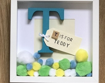 Initial Frame with Pom Poms-Childrens Bedroom decor/Nursery decor