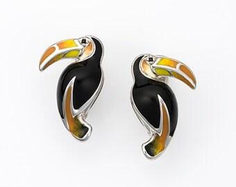 """Enamel Silver Earrings """"Toucan"""", Toucan Earrings, Animal jewelry, Tropical bird, Exotic bird"""