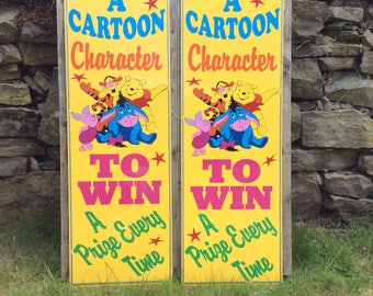 Seaside funfair 'Win A Prize' advertising boards x2