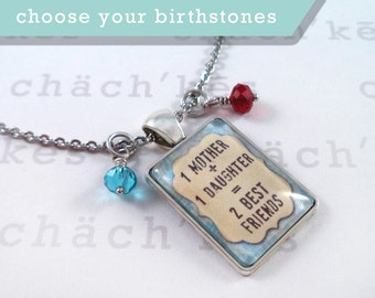 Mother Daughter Necklace with Birthstones