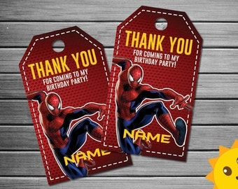 Spiderman Thank You Tags, Spiderman Birthday Favor Tags, Spiderman Party Tags, Spiderman Favor Tag, Spiderman Thank You Printables