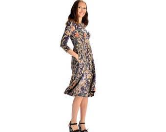 KMW Ladies Playdress, Midi Dress, Casual Dress, Modest Dress, Dress with pockets, Print dress