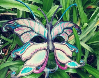 Leather Butterfly mask in turquois and purples, full face mask