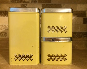 vintage Ecko canada butter yellow kitchen canisters, set of 3
