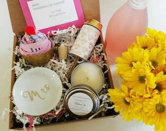 Engagement Gift Basket. Congratulations Gift.  Wedding Congratulations. She Said Yes. Pop the Bubbly. Pop the Question. Gift for Bride.
