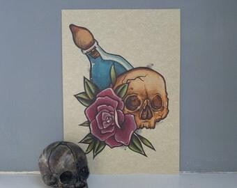 Skull & Rose Print