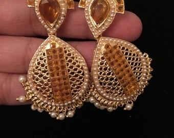 Ramya Series - Orange Stone tear drop earrings